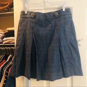 J. Crew Pleated Denim Skirt EUC
